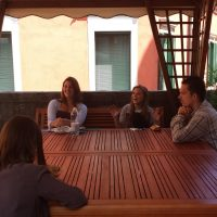 Students in a terrace, Istituto Venezia, Venice and Trieste