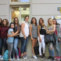 Students at the window, TANDEM Berlin German language school