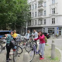 Students on a bicycle ride, TANDEM Berlin German language school